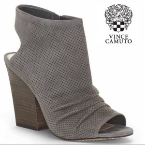 Vince Camuto Grey Suede Peep Toe Ankle Booties